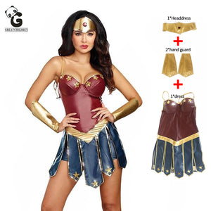 Wonder Woman Costumes Women Justice League Superhero Costume Halloween Costume for Women Sexy Dress Diana Cosplay disfraz mujer