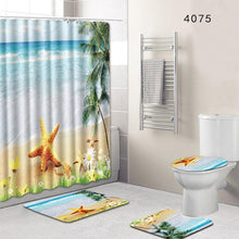 Load image into Gallery viewer, 8 Types 4Pcs/Set Anti Slip Bathroom Rugs Set Waterproof Shower Curtain Pedestal Rug Lid Toilet Cover Bath Mat Home Decor