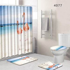 8 Types 4Pcs/Set Anti Slip Bathroom Rugs Set Waterproof Shower Curtain Pedestal Rug Lid Toilet Cover Bath Mat Home Decor