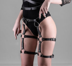CEA.HARNESS Leather Harness 2 Piece Set Garters Belts Sexy Women Waist To Leg Bondage Cage Straps Bra Garter Body Belts Chest