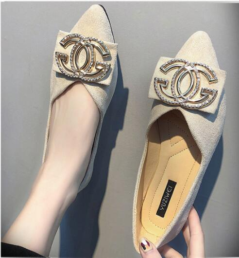 Fairy flat sole shoes women 2019 spring bean beans shoes Korean version 100-lap soft-soled pointed shallow-mouthed women's shoes