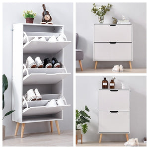 Panana 2/3 Drawers Shoe Hallway Storage Cabinet Footwear Rack Cupboard Stand Livingroom White
