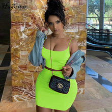 Load image into Gallery viewer, Hugcitar spaghetti straps sexy camis skirt 2 two piece set 2019 summer women fashion neon green orange solid party streetwear