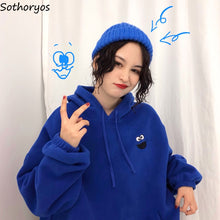 Load image into Gallery viewer, Hoodies Women Pockets Embroidered Cartoon Trendy Cute Female Loose BFplus Velvet  Long Sleeve