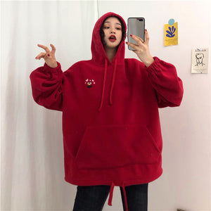 Hoodies Women Pockets Embroidered Cartoon Trendy Cute Female Loose BFplus Velvet  Long Sleeve