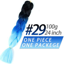 Load image into Gallery viewer, Pageup 24 Inches 105 Colored Synthetic Hair African Afro Jumbo Hair Braids Blue Pre Stretched Ombre Braiding Hair Extensions