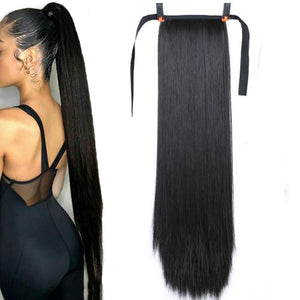 "JINKAILI  85cm 32"" Super Long Straight Clip In Tail False Hair Ponytail Hairpiece With Hairpins Synthetic Pony Tail Extensions"