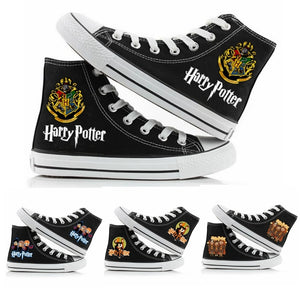 Harry Potter Women Men Sneakers Canvas  Black Color