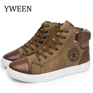 YWEEN Fashion Sneakers For Men Classic Lace-up  Autumn Vulcanized Flat With Casual Shoes