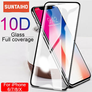 Suntaiho 10D protective glass for iPhone X XS 6 6S 7 8 plus glass screen protector for iPhone 7 6 X XR XS MAX screen protection