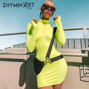 ZHYMIHRET 2019 Autumn Neon Color Sexy Skinny Zipper Front Long Sleeve Dress Fall  Mini Vestidos