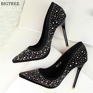 2019 Fashion Women Pumps New Women High Heels Women Shoes Sexy Pointed Wedding Shoes Sequined Bigtree Shoes Women Heels 10cm