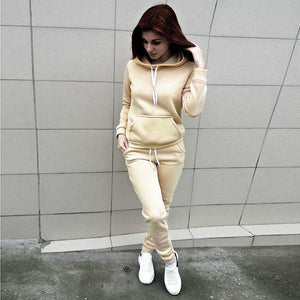 2PCS Fashion Women Hooded Hoodies Pants Solid Tracksuit Sweatshirt Sweat Suit Sweatshirts