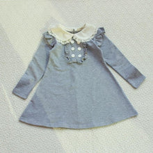 Load image into Gallery viewer, 2019 new fall winter cotton baby girl korean clothes doll collar long sleeve fashion girls A-line mini dress warm kids clothing