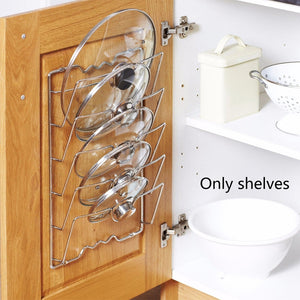 Pot Covers Holding Storage Rack Save Space Pan Lid Holder Rustproof Metal Durable Easy Install