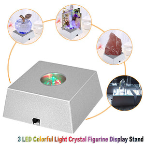 3 LED Stone Display Base Colorful Changing Light Crystal Tower Light Decoration Figurine Display