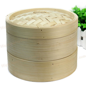 2 Tier Durable  Bamboo Steamer Chinese Kitchen Cookware Basket Rice Pasta Cooker Set