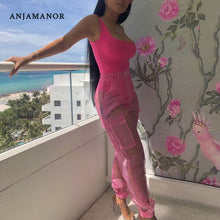Load image into Gallery viewer, ANJAMANOR Sexy Two Piece Set Bodysuit Top and Mesh Pants Neon Pink Green Summer 2 Piece Club Outfits Matching Sets D59-AB72