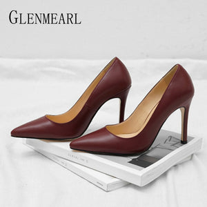 Women High Heels Shoes Brand Pointed Toe Woman Pumps Office Ladies Working Shoes Dress Spring Summber Plus Size Female Pumps DE