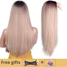 Load image into Gallery viewer, I's a wig Long Straight Synthetic Wig Mixed Brown and Blonde Long Wigs for White /Black Women Middle Part Nature Wigs