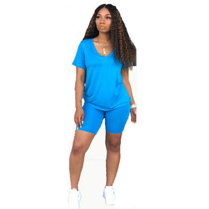 Neon Orange Casual Two Piece Set Sexy Club Outfits Women V Neck Short Sleeve T Shirt And  Biker Shorts Sweat Suits Matching Sets