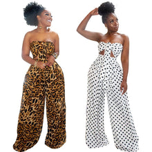 Load image into Gallery viewer, Summer Sexy 2 Piece Outfits for Women Fashion Dot Leopard Print V-neck Wrapped Chest Top Loose Wide Leg Pants Sets Plus Size