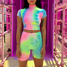 Load image into Gallery viewer, Hugcitar short sleeve crop tops shorts tie dye print colorful 2 piece set 2019 summer women fashion club streetwear sets