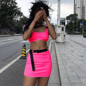 Dulzura 2019 summer women two pieces set skirt set bandage crop top tracksuit outfits streetwear 2 pieces festival clothes