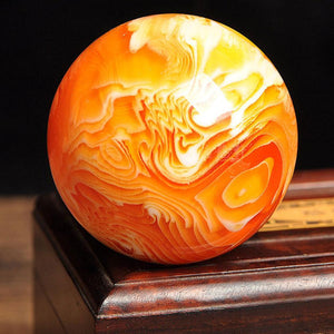 50mm Amber Beeswax Ball Massage Ball  Crystal Sphere Gold Healing Home Decor  Free Shipping