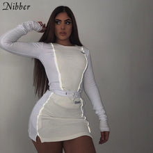 Load image into Gallery viewer, Nibber fashion Reflective patchwork sportswear 2pieces sets femme 2019new white knitting tops women tee mini shirts skirts suits