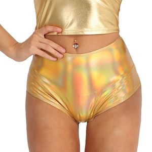 IIXPIN Women Pole Dance Shiny Metallic Booty Shorts Patent Leather Back Zipper High Waisted Brief Style Bottoms Dance Raves