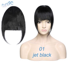 Load image into Gallery viewer, SEGO Straight 3 Clip-in Human Blunt Bangs Sweeping Side Bangs Front Hair Fringes 100% Human Hair 1 Piece Only Black Brown Blond