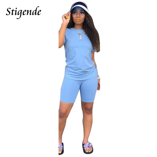 Stigende Summer Casual Solid Color Two Piece Set Women Elegant Crop Top and Shorts Tracksuit O Neck Bodycon 2 Piece Outfit Set