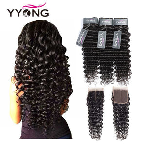 Yyong Hair Brazilian Deep Wave Human Hair 3 Bundles With 4*4 Lace Closure Remy Deep Wave Hair Bundles With Closure Tissage