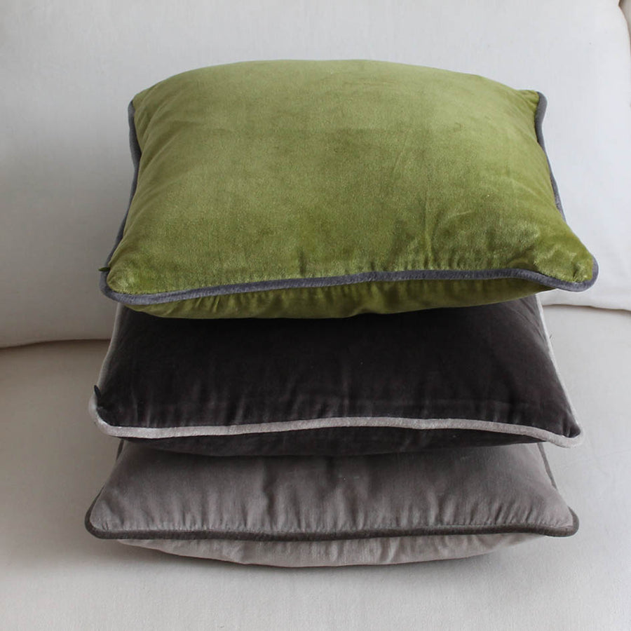 Velvet Cushion Pale Grey 45cm x 45cm