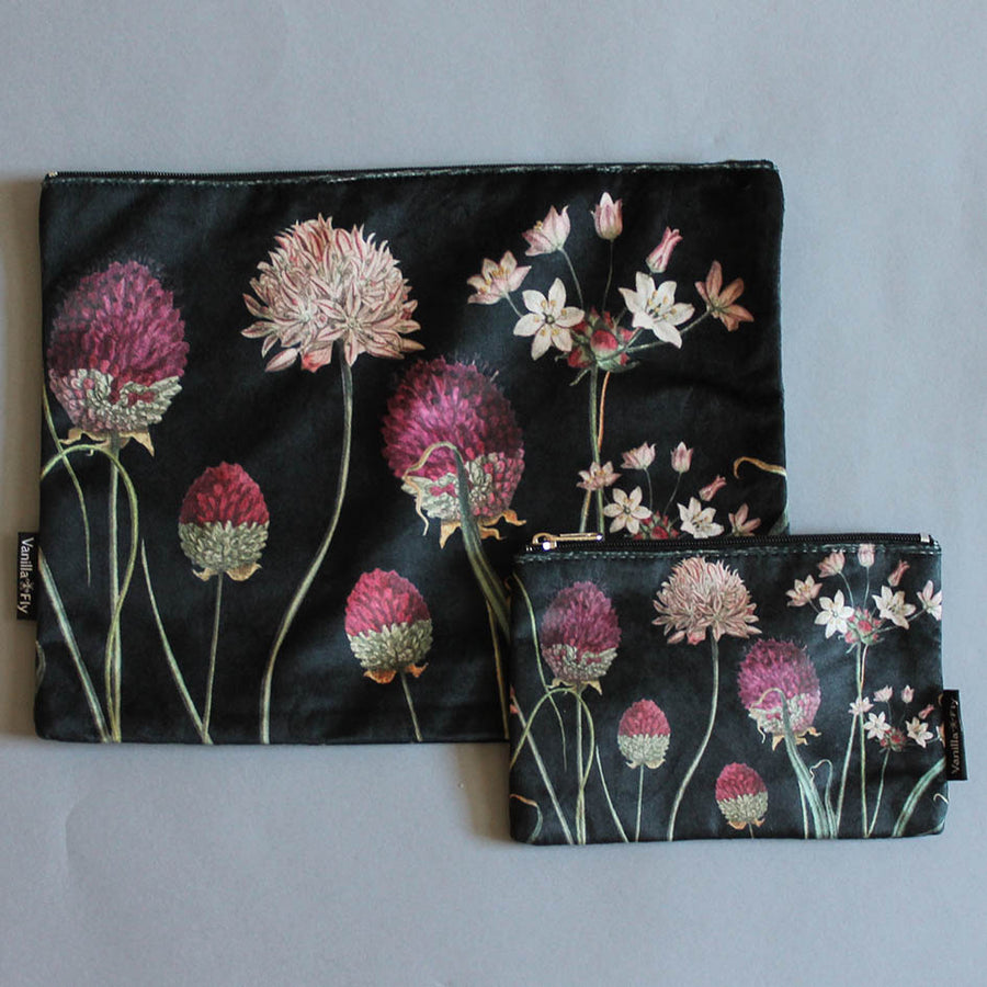 Alliums Print Velvet Pouch