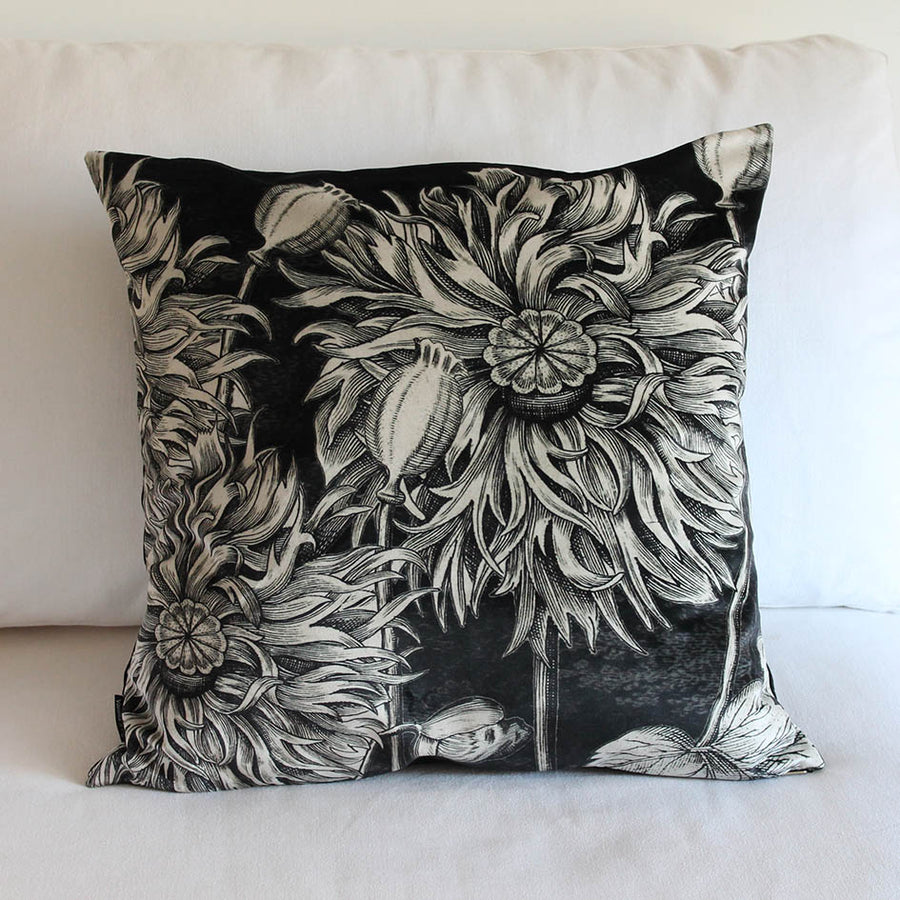 Black Poppy Velvet Cushion
