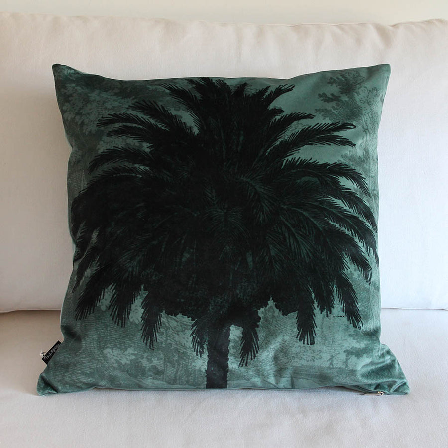 Blue Palm Velvet Cushion