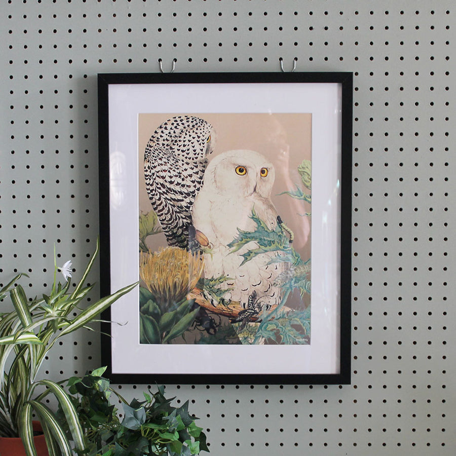 Framed Botanical Print Owls