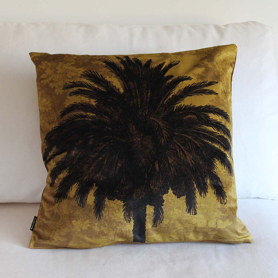 Ochre Palm Velvet Cushion