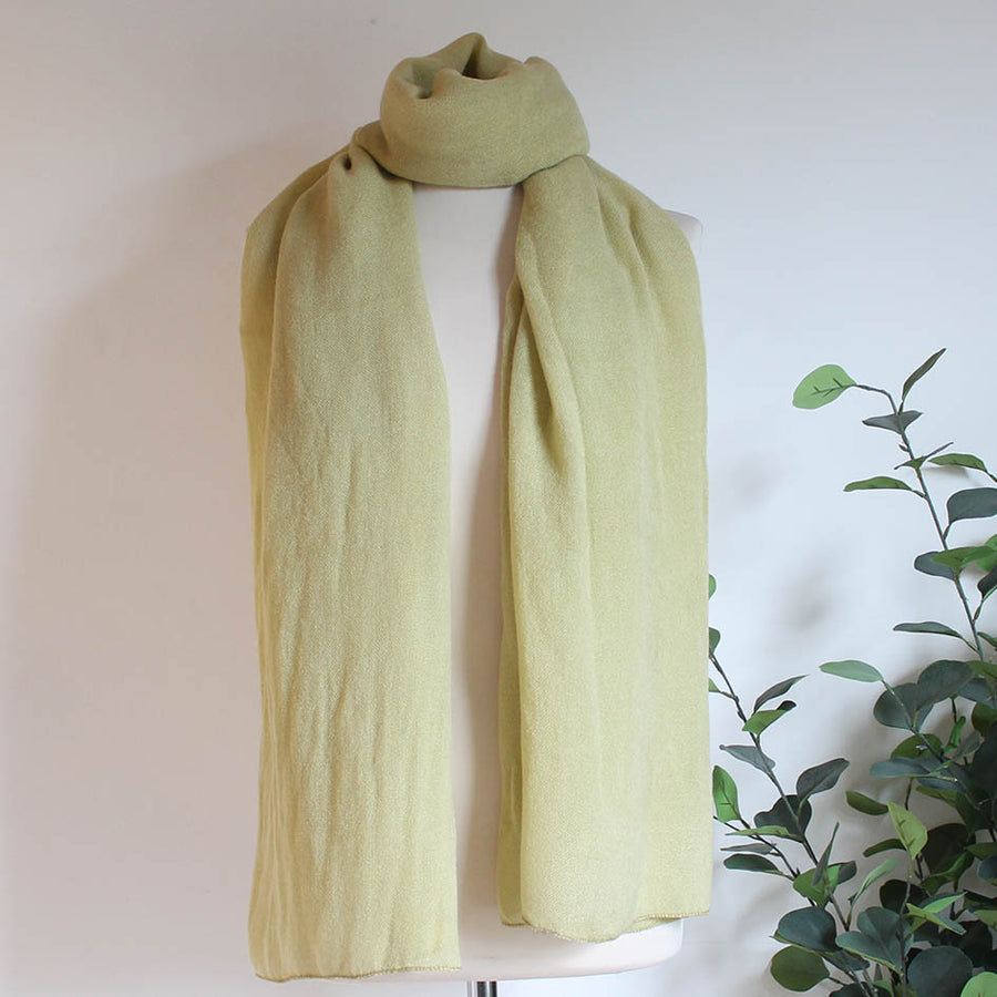 Soft Plain Knit Scarf in Pale Chartreuse
