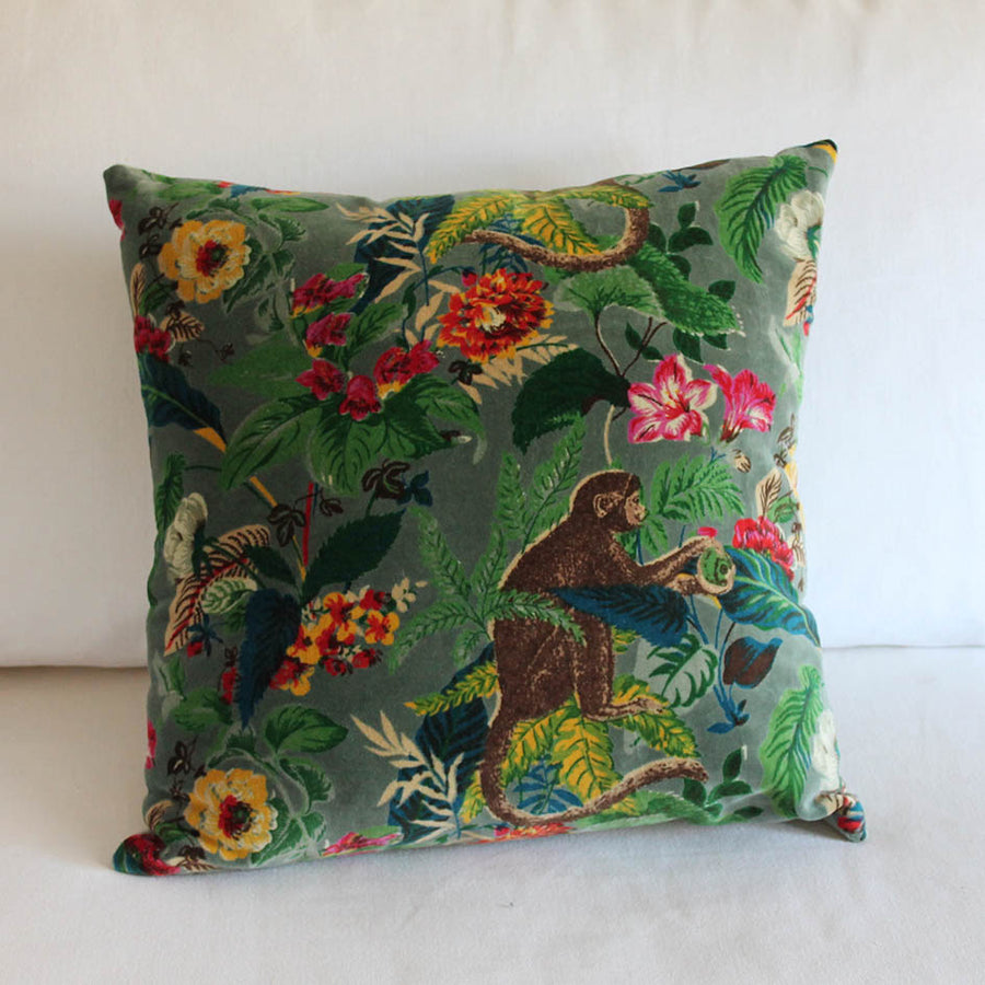 Velvet Monkey Cushion Sage