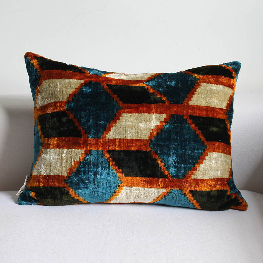 Silk Velvet Ikat Brown + Blue Pattern Oblong Cushion