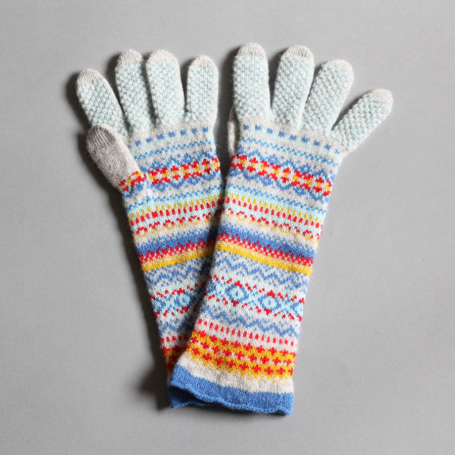 Merino Fairisle Knit Gloves-Blue