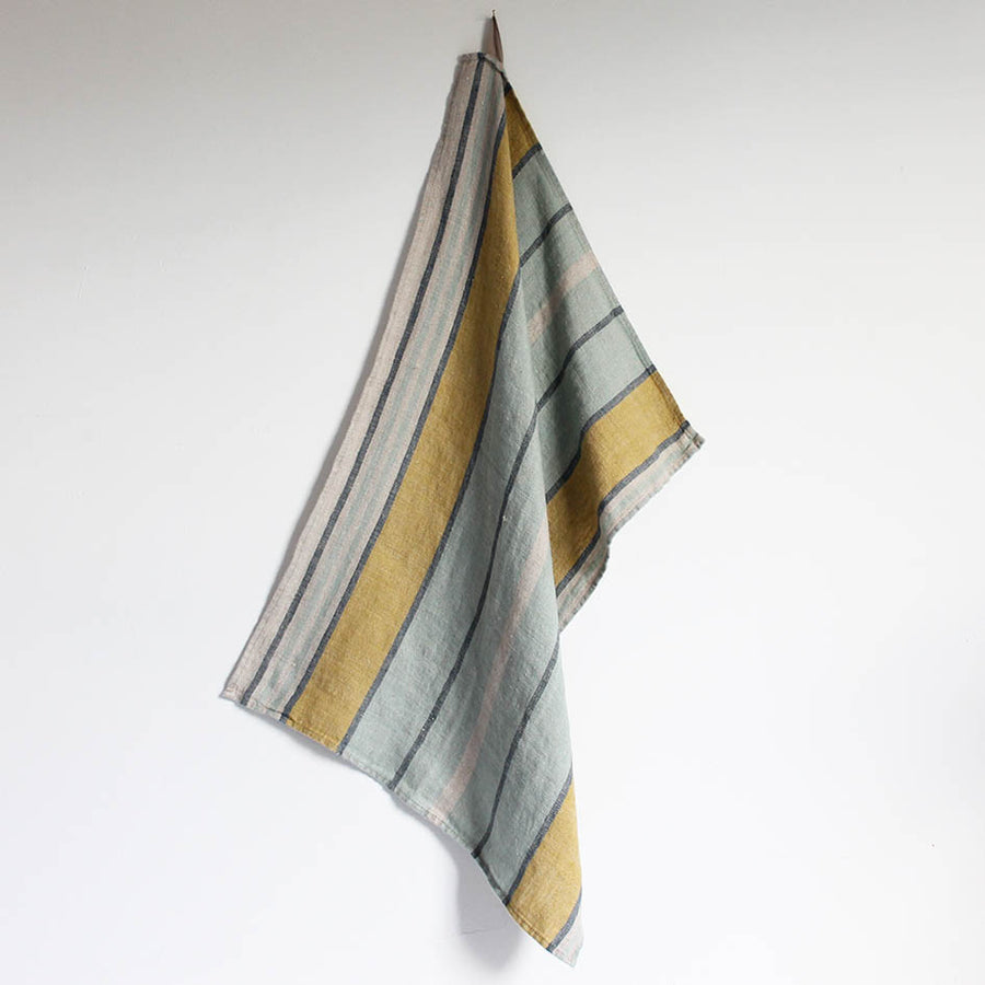 Linen T Towel in Sea Foam + Ochre Stripe