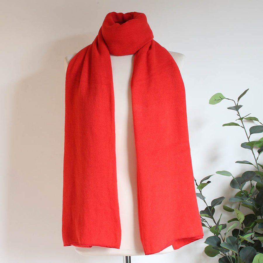 Soft Plain Knit Scarf in Classic Red