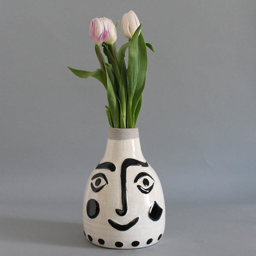 Black + White Face Ceramic Vase