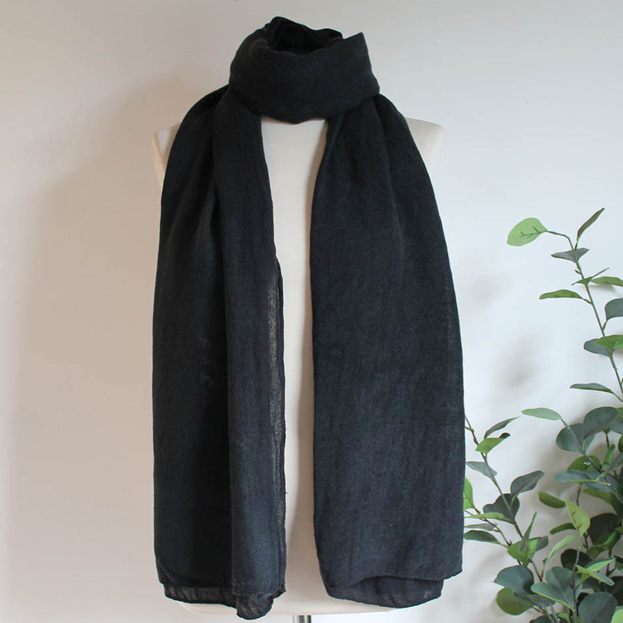 Soft Plain Knit Scarf in Charcoal Grey