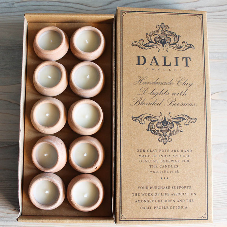 Dalit Box of Ten Indian Clay Pot Candles