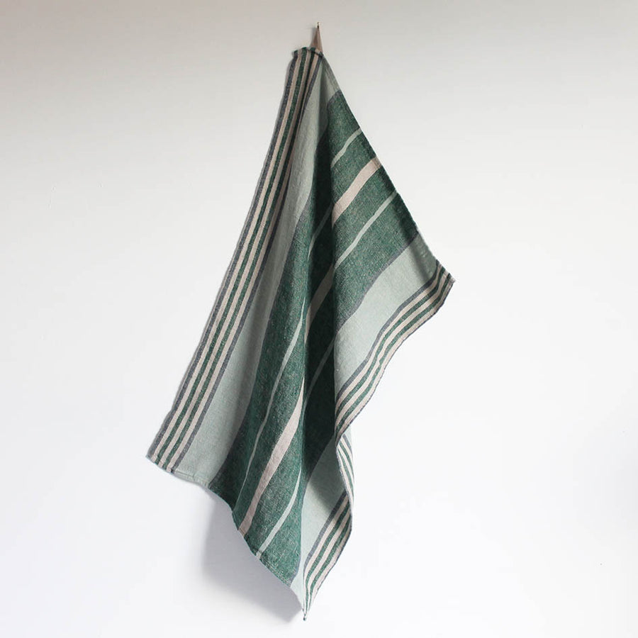 Linen T Towel in Forest Green Stripes